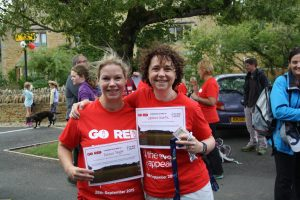 Rebecca and Catherine with their Go Red Trek certificates