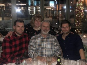 Chris is here at a restaurant with his mum, dad and brother in January.